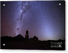 Milky Way Zodiacal Light And Ruined Church Acrylic Print