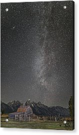 Milkyway Over The John Moulton Barn Acrylic Print by Roman Kurywczak