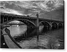 Acrylic Print featuring the photograph Mill Avenue Bridge At Sunset Black And White by Dave Dilli