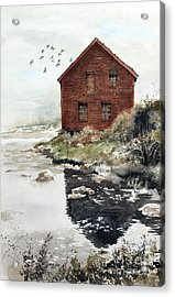 Mill Pond Acrylic Print by Monte Toon