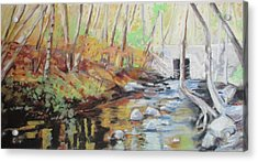 Mill Stream, October Acrylic Print by Grace Keown