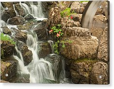 Acrylic Print featuring the photograph Mill Wheel With Waterfall by David Coblitz
