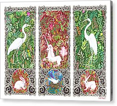 Millefleurs Triptych With Unicorn, Cranes, Rabbits And Dove Acrylic Print