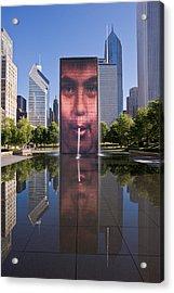 Millennium Park Fountain And Chicago Skyline Acrylic Print by Steve Gadomski