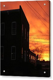 Millyard Sunset Acrylic Print by Nancy Ferrier
