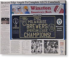 Milwaukee Brewers 1982 Al Pennant Acrylic Print by Marc Yench