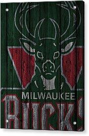 Milwaukee Bucks Wood Fence Acrylic Print