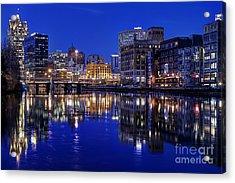 Milwaukee River Twilight Winter Acrylic Print by John December