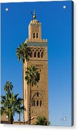 Minaret Of The Koutoubia Mosque, Marrakesh Acrylic Print by Nico Tondini