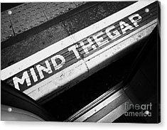 Mind The Gap Between Platform And Train At London Underground Station England United Kingdom Uk Acrylic Print by Joe Fox