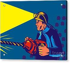 Miner With Jack Drill Acrylic Print by Aloysius Patrimonio