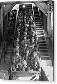 Miners In An Open Tram At The Calumet Acrylic Print by Everett