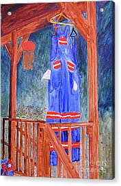Acrylic Print featuring the painting Miner's Overalls by Sandy McIntire