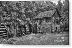 Acrylic Print featuring the photograph Mingus Mill Black And White Mingus Creek Great Smoky Mountains Art by Reid Callaway