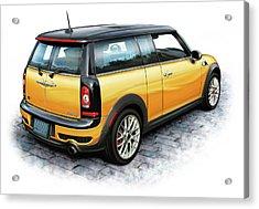 Mini Cooper Clubman Yellow Acrylic Print by David Kyte