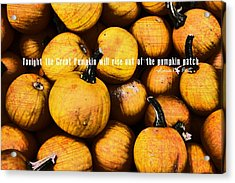 Mini Pumpkin Patch Quote Acrylic Print by JAMART Photography