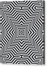 Minimal Geometrical Optical Illusion Style Pattern In Black White T-shirt  Acrylic Print by Philipp Rietz