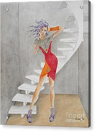 Minimalist Madness -- Whimsical Fashion Drawing Acrylic Print