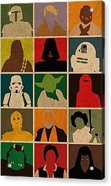 Minimalist Star Wars Character Colorful Pop Art Silhouettes Acrylic Print