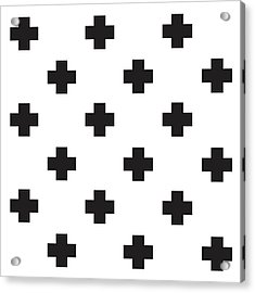Minimalist Swiss Cross Pattern - Black, White 02 Acrylic Print