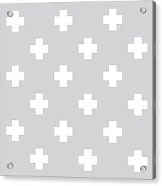 Minimalist Swiss Cross Pattern - Grey, White 01 Acrylic Print