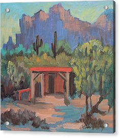 Acrylic Print featuring the painting Mining Camp At Superstition Mountain Museum by Diane McClary