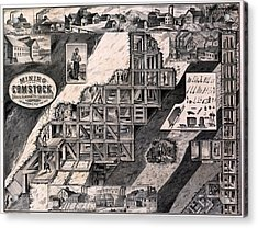 Mining On The Comstock, Cutaway Acrylic Print by Everett