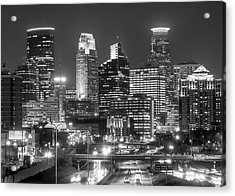 Acrylic Print featuring the photograph Minneapolis City Skyline At Night by Jim Hughes