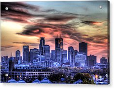 Minneapolis Skyline Autumn Sunset Acrylic Print by Shawn Everhart