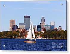 Minneapolis Skyline Lake Calhoun Sailing Acrylic Print