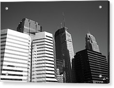 Acrylic Print featuring the photograph Minneapolis Skyscrapers Bw 5 by Frank Romeo