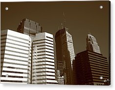 Acrylic Print featuring the photograph Minneapolis Skyscrapers 5 Sepia by Frank Romeo