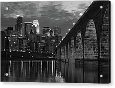 Minneapolis Stone Arch Bridge Bw Acrylic Print