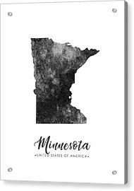 Minnesota State Map Art - Grunge Silhouette Acrylic Print