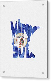 Minnesota Typographic Map Flag Acrylic Print