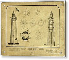 Acrylic Print featuring the drawing Minot's Ledge Light House. Massachusetts Bay by Vintage