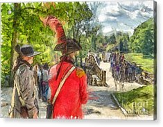 Minuteman And Redcoat Concord Ma Pencil Acrylic Print by Edward Fielding