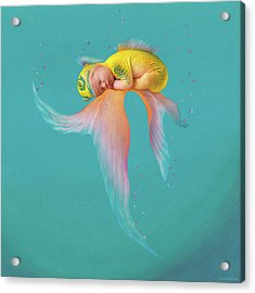 Mira As A Tropical Fish Acrylic Print by Anne Geddes