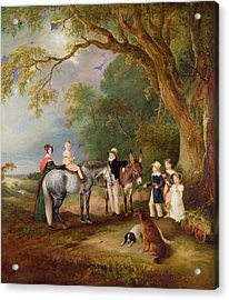 Miss Catherine Herrick With Her Nieces And Nephews Acrylic Print by John E Ferneley