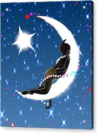 Miss Fifi And Her Sister The Moon Acrylic Print by Silvia  Duran