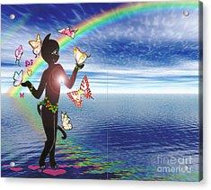 Miss Fifi And The Rainbow Acrylic Print by Silvia  Duran