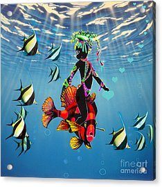 Miss Fifi New Friends In The Ocean Acrylic Print by Silvia  Duran