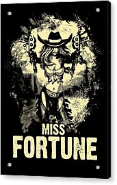 Miss Fortune - Vintage Comic Line Art Style Acrylic Print
