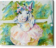 Miss Piggy At The Bar Acrylic Print by P Maure Bausch