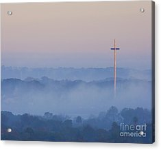 Mission Cross In Fog At Sunrise Acrylic Print by Jackie Hird