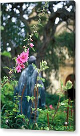 Mission Statue And Flower Acrylic Print by Kathy Yates