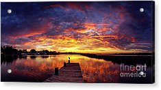 Mississippi Gulf Coast Sunset Pano Acrylic Print by Joan McCool