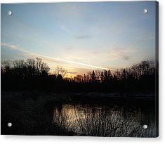 Acrylic Print featuring the photograph Mississippi River Colorful Dawn Clouds by Kent Lorentzen
