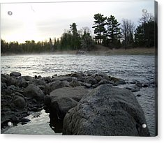 Acrylic Print featuring the photograph Mississippi River Dawn Over The Rocks by Kent Lorentzen