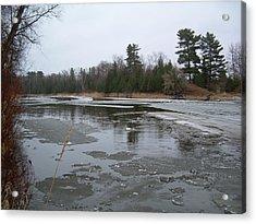 Mississippi River Ice Flow Acrylic Print by Kent Lorentzen